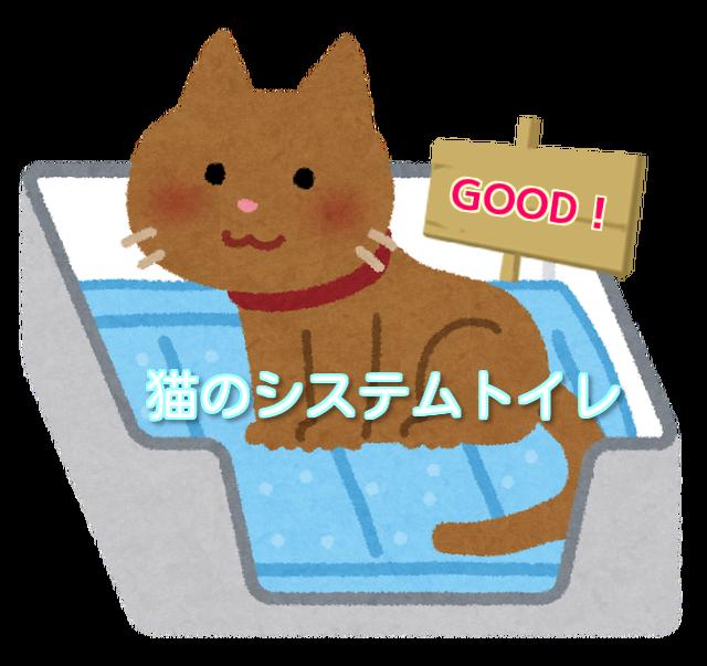 システムトイレに入った猫